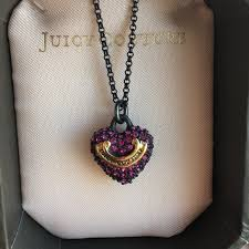 necklace metal images Juicy couture jewelry black metal necklace hot pink stones jpg