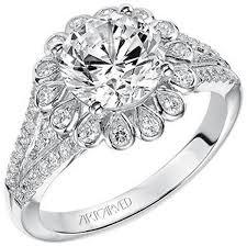 flower halo engagement ring artcarved irina halo flower styled split shank engagement ring