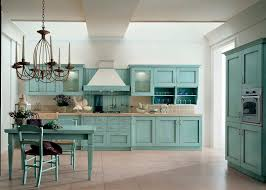 rustic kitchen and dining room spaces with old oak kitchen cabinet rustic kitchen and dining room spaces with old oak kitchen cabinet painted with light blue color and light brown ceramic backsplash plus white wall interior