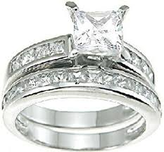925 sterling silver engagement rings princess cut white cz wedding band engagement ring set