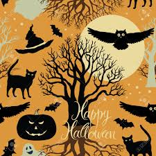 black trees for halloween happy halloween pumpkins bats and cats black trees and a
