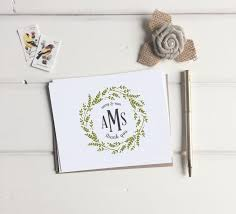 thank you card for wedding gift custom monogram thank you cards wedding monogrammed thank you