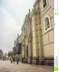 neoclassical style building in plaza mayor in peru editorial stock