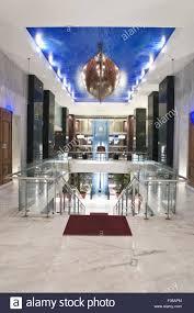 interior of megaron luxury hotel in iraklion crete greek stock