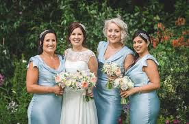 ghost wedding dress tipi wedding with bridesmaids in blue ghost dresses with in