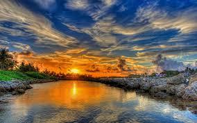 sunset water view lovely sky reflection house lake river splendor