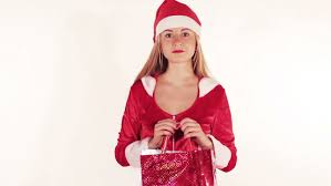 woman holding red present gift box for christmas pretty happy