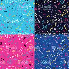 retro 80s seamless pattern background set stock vector art