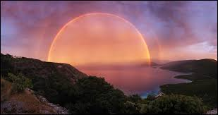 sunset rainbow over samos island greece epod a service of usra