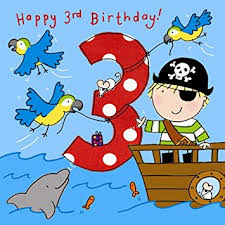 twizler 3rd birthday card for boy with pirate parrots and glitter