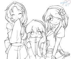 anime friends coloring pages