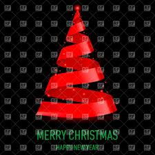christmas tree made of red ribbon on black background vector