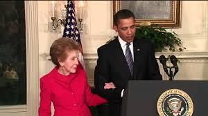 Nancy Reagan President Obama With Nancy Reagan Signs Law For Ronald Reagan