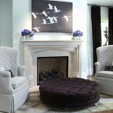 ottoman ideas for living room round blue velvet tufted ottoman design ideas