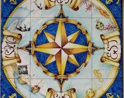 painted nautical home decor tile mural compass
