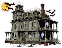 haunted house with bats and ghost wall decor decal nostalgia decals