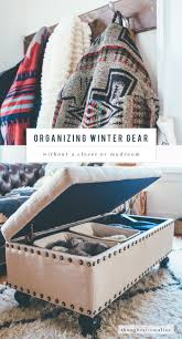 organizing winter gear without a closet or mudroom