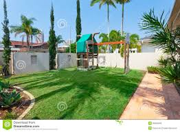 childrens play area in backyard stock image image 36935949