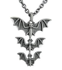 vampire bats pendant necklace gothic death rock halloween munster