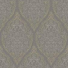 grandeco boho chic silver and gold damask on dark grey wallpaper