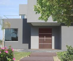 nice modern grey house design with brown door design ideas can add