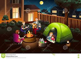 The Backyard Family Camping In The Backyard Stock Vector Image 75201785