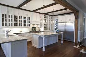 spectacular french country blue kitchen cabinets with waterfall
