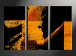 3 piece orange abstract black group canvas