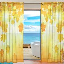custom design curtains 2 pieces custom design home decor autumn maple leaf sheer curtain