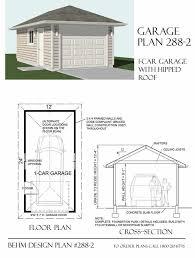garage plan hipped roof 1 car garage plan 288 2 by behm design garage