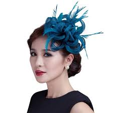 fascinators hair accessories women teal loop sinamay hair fascinators with feathers hair clip