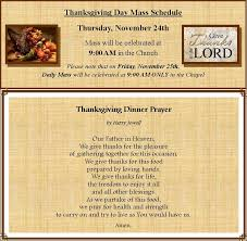 thanksgiving schedule the catholic church of st bernard of