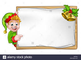 christmas elf cartoon character peeking around wooden scroll sign