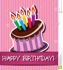 vector birthday card with cake and candles stock photos image