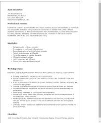 Sample Resume For Someone In by Professional Disability Support Worker Templates To Showcase Your