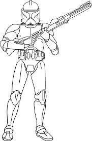 clone trooper hold gun star wars coloring download