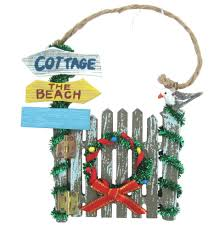 Beach Themed Christmas Tree Decorations amazon com beach themed christmas gate ornament with wreath and