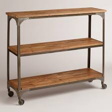 wood and metal aiden 3 shelf console table kitchen family rooms