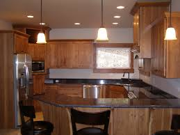 kitchen rustic hickory kitchen cabinets black countertops yellow
