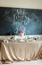swooning over this gold sequined tablecloth scripted quote in
