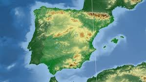 physical map of spain cataluna autonomous community extruded on the physical map of