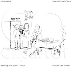 sketch room cartoon of a black and white sketch of a line at the office copy