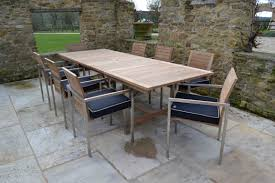 Teak Outdoor Furniture Clearance Extending Teak And Stainless Steel Garden Furniture Set Riviera