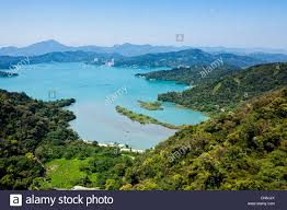 panorama of sun moon lake from ropeway cable car gondola from