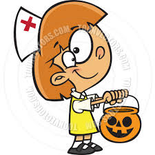 cartoon with nurse halloween costume by ron leishman toon