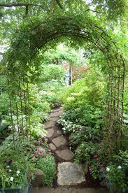 archway and path using inexpensive garden arches found everywhere
