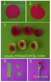 cara membuat bunga dengan kertas hias cara membuat bunga mawar dari kertas warna warni kreasi ceria
