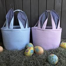 blank easter baskets blue or pink seersucker gingham floppy ears easter basket 9 25