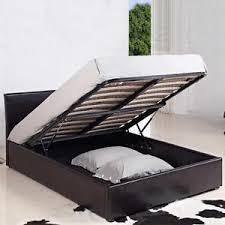 Brown Ottoman Storage 4ft Small Leather Ottoman Storage Bed Black Brown Mattress
