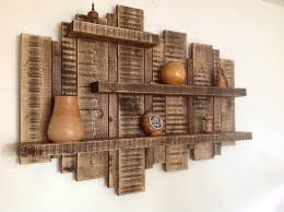 large wall mounted rustic floating shelf solid wood display unit